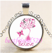 Belive Breast Cancer Awareness Cabochon Glass Tibet Silver Pendant Necklace#B42