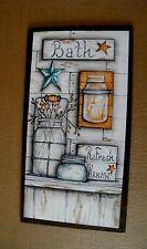 13x17 Retro Country Primitive Bath Bathroom Refresh Renew berry stars decor sign