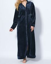 Dreams & Co. Plus Size Navy Plush Hooded Long Robe Size 2X(26/28)