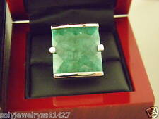 Sterling Silver Square  Green Jade Cocktail Ring Sz 7.5.#37