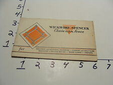 vintage WICKWIRE SPENCER CHAIN LINK FENCE CATALOG