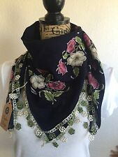 Daphne DeSign Cotton Turkish Yemeni Scarf With Handmade Needle Lace Edging NWT