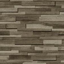 NEW MURIVA THIN WOOD BLOCK PATTERN WOODEN FAUX EFFECT EMBOSSED VINYL WALLPAPER