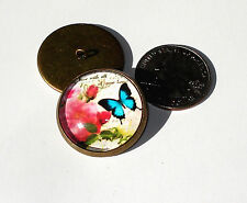 Butterfly & Rose Glass Dome Button handcrafted collectible shank sew or pin on