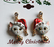 Red Santa Hat Cat w Jingle Bell /  Dangling Post Earrings / Gold-tone w Crystals