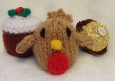 KNITTING PATTERN Christmas pudding and robin chocolate cover fits Ferrero Rocher