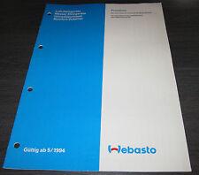 Webasto Preisliste Luft Heizgeräte Wasser Umwälzpumpen Komfort Zubehör 05/1994