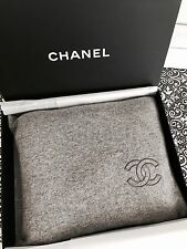 CHANEL VIP Set of Grey Cashmere Wool Throw Blanket + Sleeping Mask + Bag + Box