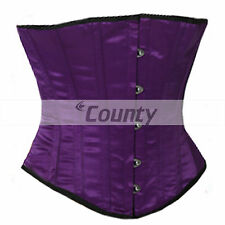 Full Steel Boned Sexy Basque Bustier Gothic Shaper Underbust Purple Satin Corset
