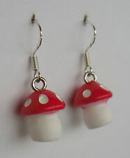 Not mushroom inside! earrings toadstool funghi fungus fairy fairies funky cute