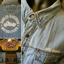 HARLEY DAVIDSON Denim Blue Jean Shirt Long Sleeve Button Down Mens Size 2XL