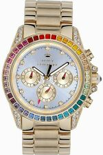 BRAND NEW JUICY COUTURE 1901038 STELLA RAINBOW GLITZ GOLD CHRONOGRAPH WATCH