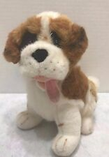 "St Bernard Dog Plush 9"" Stuffed Animal Brown Red Collar Brown White Tongue Out"