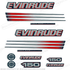 Evinrude 150hp Bombardier Outboard Decal Kit - Blue Cowl Engine 2002-2006