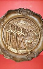 Vintage Switzerland Wooden Carved Resin Plate/3-d