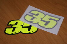 Crutchlow Number 35 Race Numbers - Flo Yellow - (Pair)