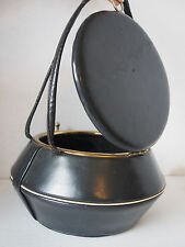 Great Antique Art Deco Black Leather Basket Structured Minaudiere Bauletto Purse