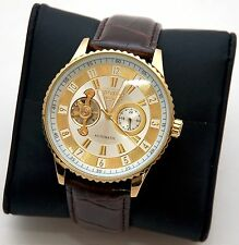 NEW Croton Ci331077 Imperial Men's White Dial Gold Brown Leather Automatic Watch