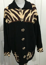 STORYBOOK KNITS 1X black brown tan animal print cardigan chunky sweater NWT