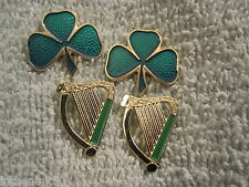 Saint Patrick's Day 4 Piece Pin Set 2 Shamrock & 2 Harps Lapel Pin Set New