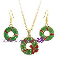 18K GOLD GP Red Green Bow Xmas Christmas RINGS Necklace EARRINGS SET XL004 GIFT
