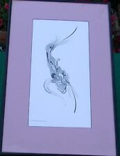 1970 Abstract Pen and Ink Bird Drawing Picture C Maintanis Bleecker Warwick RI