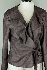 Boutique Renuar Brown Crinkle Fabric Leather Look Wrap Front Jacket Coat 10 M