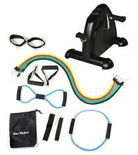 Rehabilitation Exercise Bike Mini Cycle BLACK + 14 Heavy Duty Latex Bands NEW