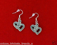 VINTAGE STYLE DOUBLE HEART SILVER CHARM DANGLE EARRINGS~VALENTINES DAY GIFT