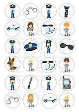 24 Police Emergency Wafer / Rice Paper Cupcake Topper Edible Fairy Cake Toppers