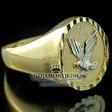 MEN'S OVAL 3.5 GRAMS 10K REAL TWO TONE GOLD AMERICAN EAGLE RING BAND SIZE 10.5