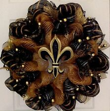 Elegant Fleur De Lis Black And Gold Mardi Gras Deco Mesh Wreath