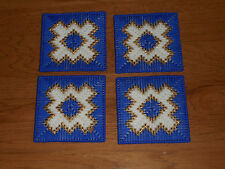 BLUE & WHITE WITH GOLD ACCENT COASTERS - SET 4   (NEW)