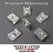 15x metallo halterunung parentesi madre di bloccaggio VW GOLF AUDI m6 x 23.4 x 16 #neu