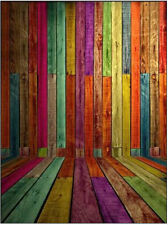 Colorful Wood Wall Vinyl Flag Theme Backdrops Photography Stage Background 5x7ft