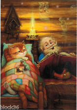 OLD MAN READS TALE TO CAT AND MICE IN THE VILLAGE HOUSE Modern Russian card