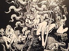 Original Print 1994 - Sexy Fantasy Art Nude Erotic Demon Hell Harem Female Rasel