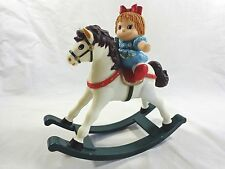 MUSICAL ROCKING HORSE Toy Figurine with Girl Baby Doll VINTAGE Celluloid
