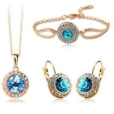 18K Gold Plated Sea Blue Swarovski Element Crystal Jewelry Necklace And Earring