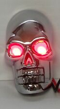 Skull Motorcycle Marker Lights with Red LEDs - Die-Cast w/ Chrome Finish -1 pair