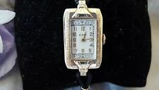 Vintage GORGEOUS DECO Elgin ladies 14k yellow gf watch ~ enamel dial RUNS