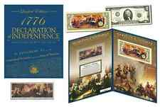 DECLARATION OF INDEPENDENCE *240th ANNIV* $2 Bill & 1976 Stamp Strip in LG FOLIO