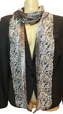 Liberty of London Handmade Scarf Bobo Fabric with Silver Grey Crushed Velvet!