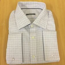 Ex M&S PURE COTTON French Cuff Mens Shirt Long Sleeve Stripe check Luxury Smart