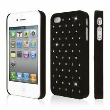 COVER CUSTODIA RIGIDA IPHONE 4 4S STRASS BRILLANTINI NERO