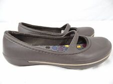 CROCS Womens 8 Brown Lined Ballet Flats Shoes Mary Jane Clogs