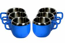 Stainless steel double wall set of 6 Deep Blue cups