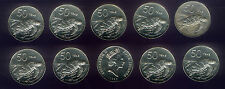 WHOLESALE 10 UNC TURTLE COINS KM # 41 COOK ISLANDS 1992 ONLY TYPE VALUE 50 TENE