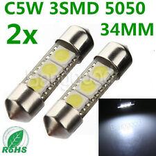 2x C5W 3 LED 5050 SMD 34-36mm Plaque Blanc Xenon Feux Lampe Navette Plafonnier