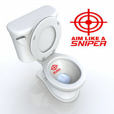 TOILET SEAT DECAL AIM LIKE A SNIPER TARGET BATHROOM DECAL DECOR FUNNY RED